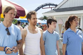 Nat Faxon, Sam Rockwell, Liam James, and Maya Rudolph in The Way Way Back