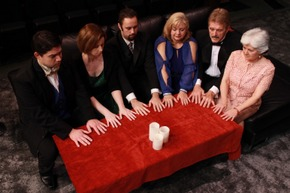 L-R  Bryan Lopez, Molly McLaughlin, Drew Pastorek, Teri Nelson, Tom Naab, and Stephanie Naab in The Game's Afoot