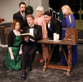 Molly McLaughlin, Drew Pastorek, Tom Naab, Stephanie Naab, Bryan Lopez, and Teri Nelson in The Game's Afoot