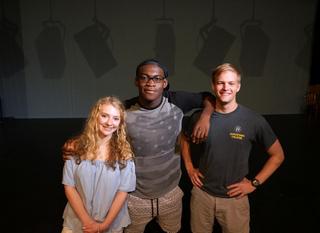 Katie Kleve, Debo Balogun, and Keenan Odenkirk, stars of Augustana College's Othello, running October 14 - 23