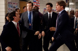 Zach Galifianakis, Jason Sudeikis, Dyan McDermott, and Will Ferrell in The Campaign