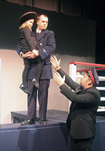 Josh Kahn, Amber Bauswell, and Nicholas Waldbusser in Titanic Aftermath