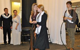Cole McFarren, Catie Osborn, Jessica Nicol-White, Maggie Woolley, and Bobby Duncalf in Titus Andronicus