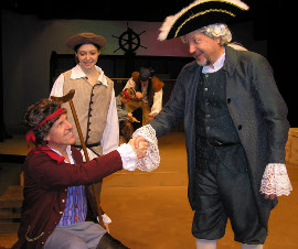 Jim Driscoll, Stephanie Moeller, John Weigandt (foreground), Alec Peterson, and Travis Hedman (background) in Treasure Island