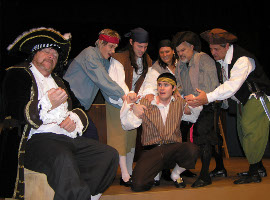 Don Hazen, Alec Peterson, Travis Hedman, Greg Goetz, Lisa Kahn, Bill Bates, and Bill Hudson in Treasure Island