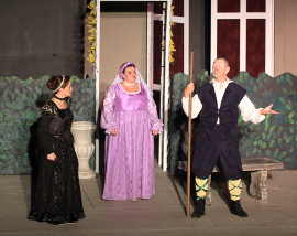 Cayte McClanathan, Mollie Schmelzner, and Michael Carron in Twelfth Night