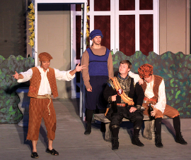 Calvin Vo, Joey Curtiss, Alex Brown, and Michael Callahan in Twelfth Night