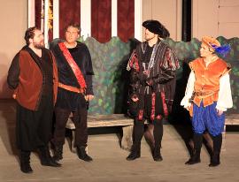 Doug Adkins, Mischa Hooker, Tyler Henning, and Irene Herzig in Twelfth Night