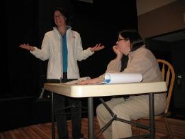 Johanna Welzenbach-Hilliard and Donna Weeks rehearse Under the Radar