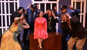Valeree Pieper, John Weigandt, John Antonin Dieter, Callen Brown, Mark McGinn, David Miller, and Tom Naab in Urinetown