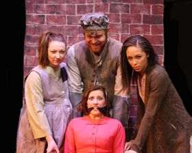 (clockwise from left) Johnna Kerres, Ian Sodawasser, Christiana Crosby, and Callen Brown in Urinetown