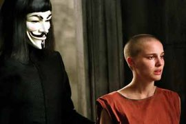 Hugo Weaving and Natalie Portman in V for Vendetta