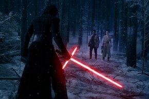 Adam Driver, John Boyega, and Daisy Ridley in Star Wars: The Force Awakens