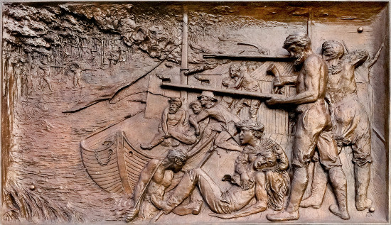 Campbell's Island war-memorial bronze relief. Photo by Bruce Walters.
