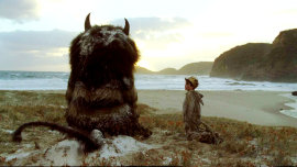 Carol (voiced by James Gandolfini) and Max Records in Where the Wild Things Are