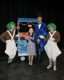Ally Zahringer, Laila Haley, Zach Hendershott, and Kayla Lee in Willy Wonka