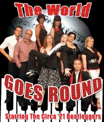 Rodney Swain, Brad Hauskins, Jennifer Diab, Andrea Moore, Sara Nicks, Bret Churchill, Jan Schmall, Marc Ciemiewicz, and Laura Hammes in The World Goes 'Round