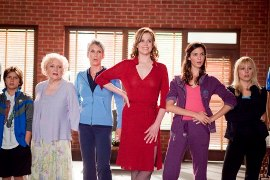 Billy Unger, Betty White, Jamie Lee Curtis, Sigourney Weaver, Odette Yustman, and Kristin Bell in You Again