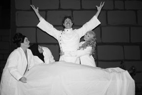 Nancy Teerlinck, Nate Karstens, Ian Sodawasser, Abbey Donohoe, and Nathan Bates (under the sheet) in Young Frankenstein